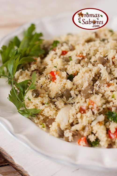 Salada bacalhau com couscous