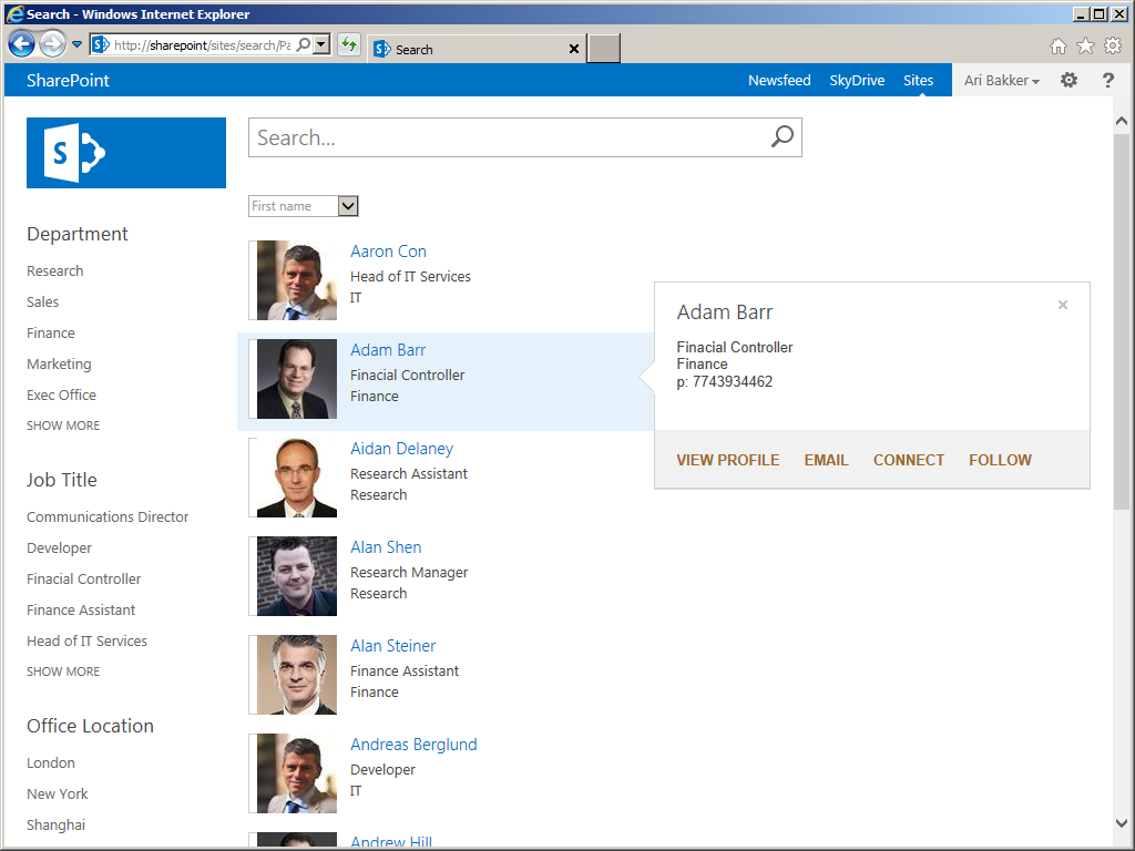 SharePoint 2013: SharePoint 2013 People Directory