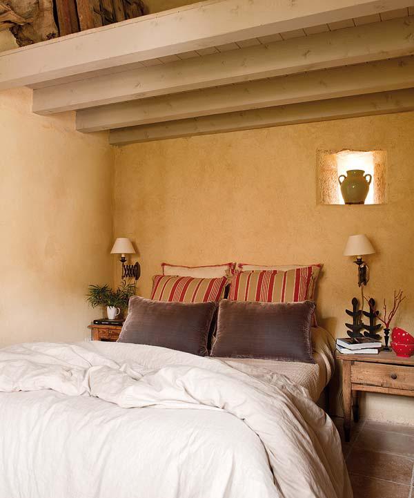 proyecto decoración rustico vintage dormitorio cojines