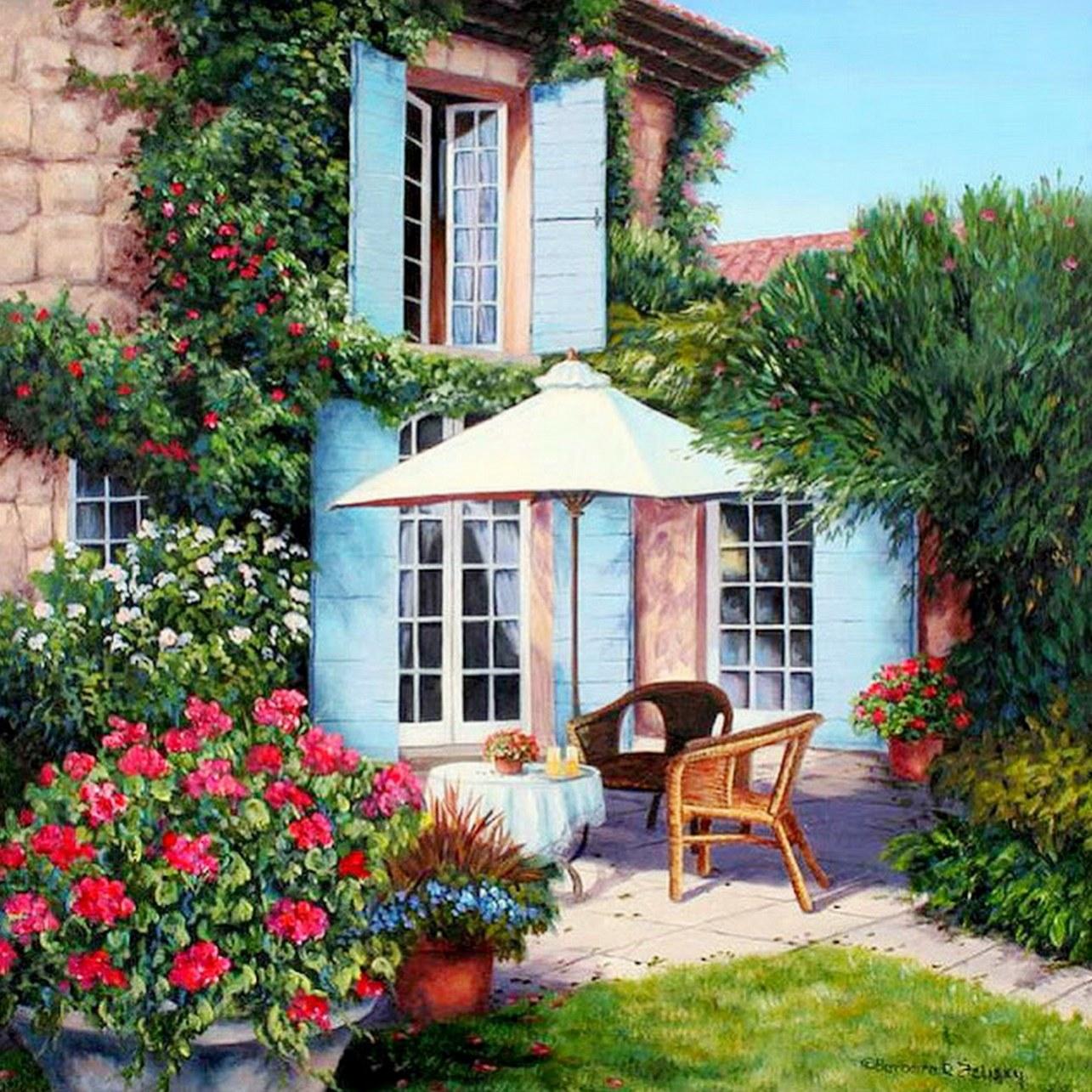 Cuadros modernos pinturas y dibujos cuadros de casas con for Los mejores jardines de casas
