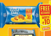 Buy Britannia Good Day Cookies at Rs.30 or Rs.10 and get Free Recharge of Rs.10 or Rs.30