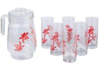 Buy Roxx Pink Iris Jugs & Flasks 7 Pc Beverage Set at Rs 293 Via pepperfry :Buytoearn
