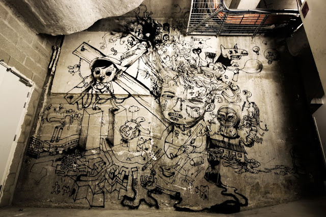 New Indoor Mural By The Popular French Street Artist Dran For The Lasco Project - Palais De Tokyo, Paris.