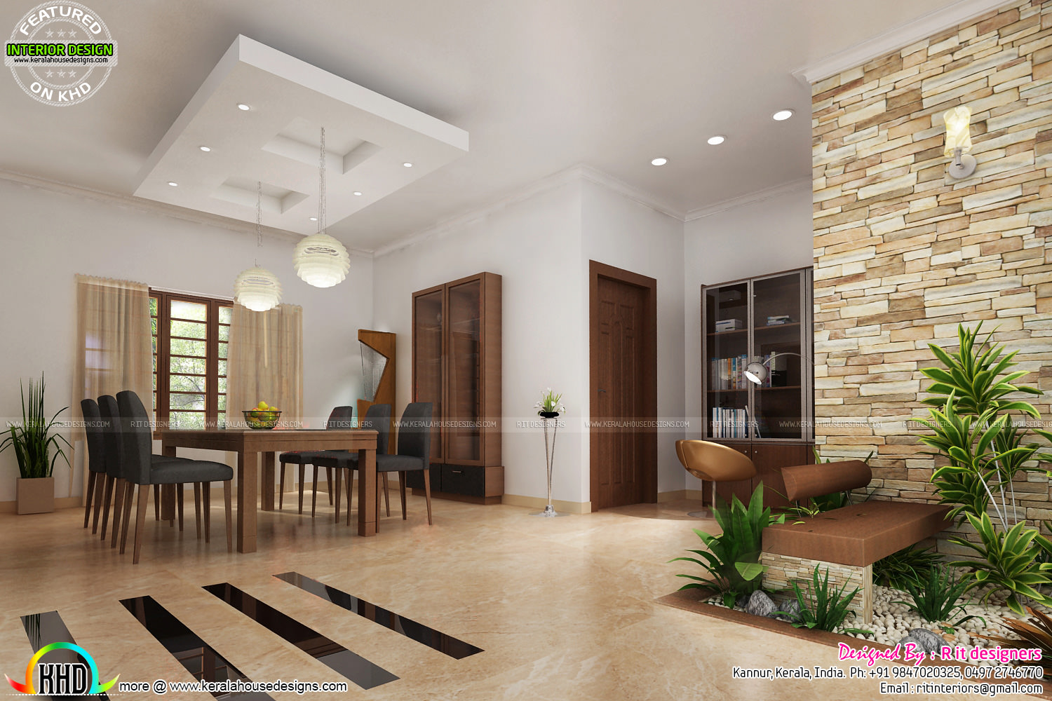 House interiors by r it designers kerala home design and for House interior design hall