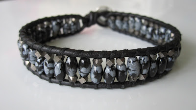 chan luu men's bracelet diy craft faceted nuggets snowflake obsidian