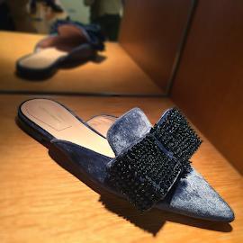 Alberta Ferretti Embellished Bow Velvet Mules @BNY