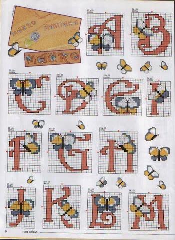 Alfabeto con mariposas, para punto de cruz.