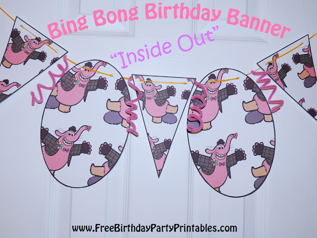 "Free Bing Bong  ""Inside Out""  Birthday Party Printables- Flag Bunting Banner"