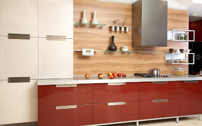 contemporary kitchen design with red cabinets  and wooden wall