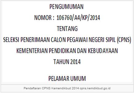 Pengumuman Hasil Seleksi Administrasi CPNS Kemendikbud 2014