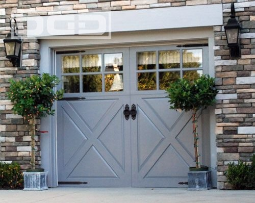 Marvelous This Is A Great Garage Carriage Door With Large Square Glass Windows. The  Hardware Adds To The Feel That This Operates Like An Old Fashion Carriage  Door.