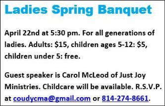4-22 Ladies Spring Banquet Alliance Church Coudersport