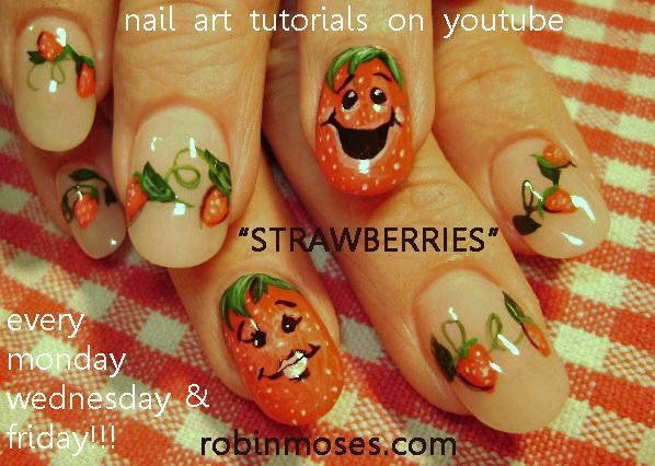 Nail Art Design Smiling Strawberry Nail Design Glitter Explosion