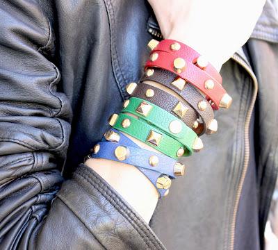 bracelet cuir pointes