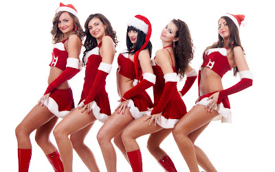 Christmas Tree with Santa Girls wallpapers merry Christmas happy new years beauty