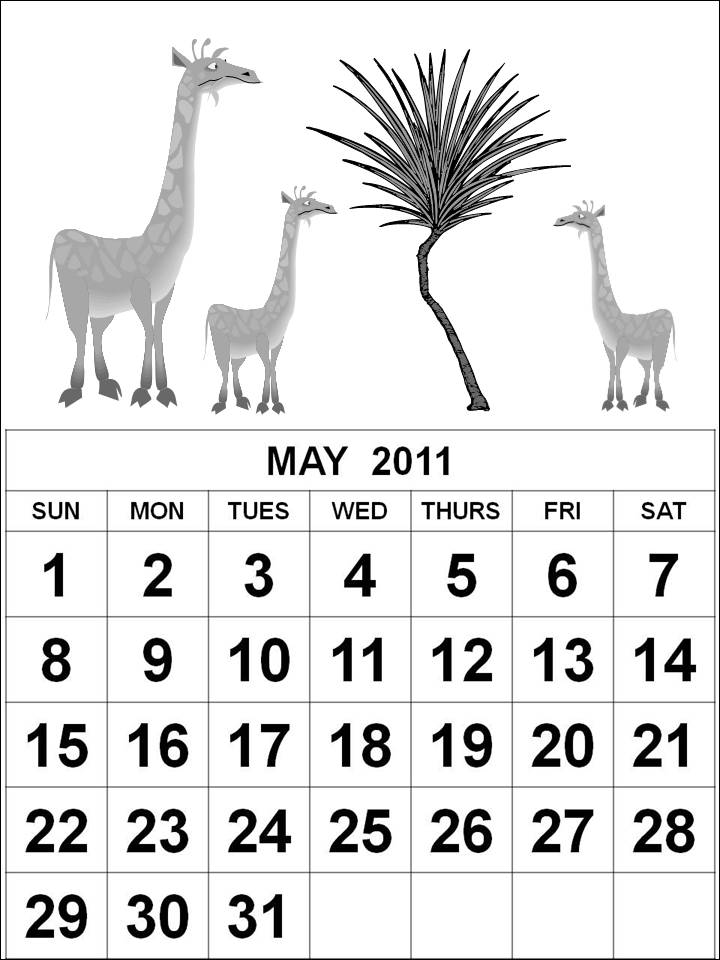 may 2011 calendar page. the page,downloads giraffe
