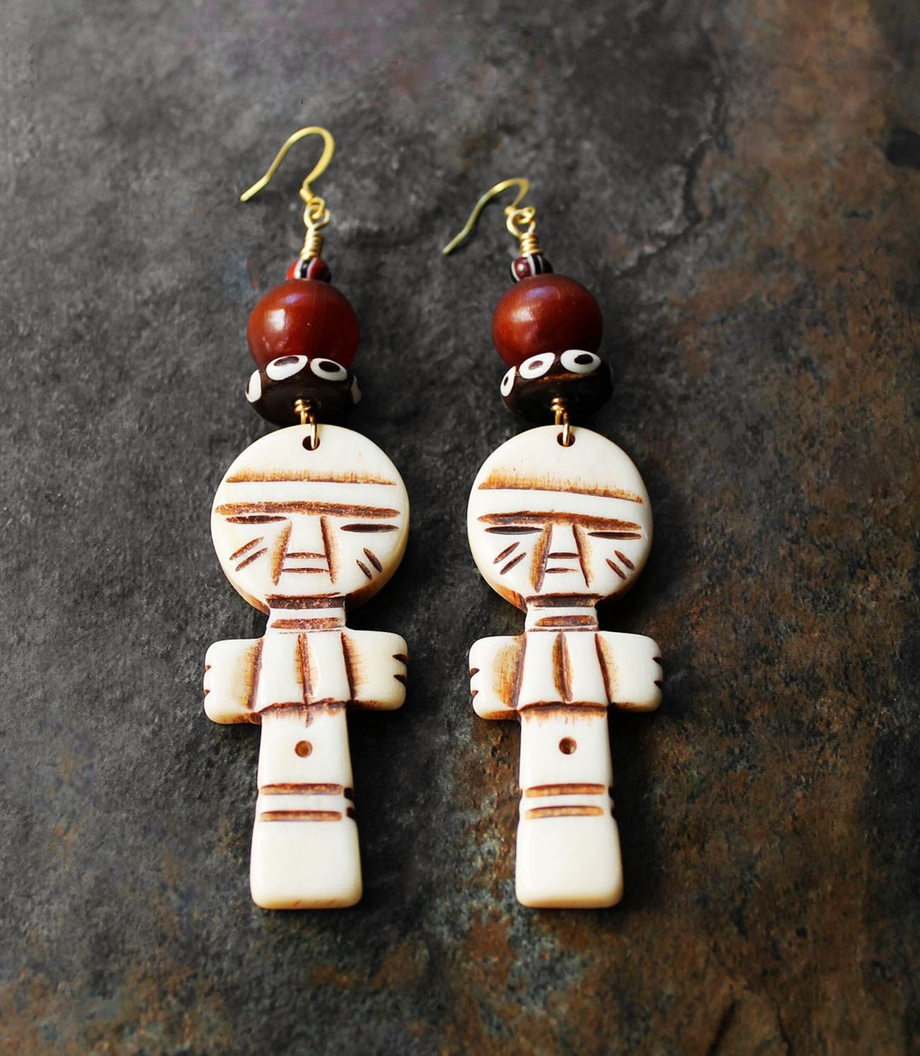 african carved bone akuaba doll earrings