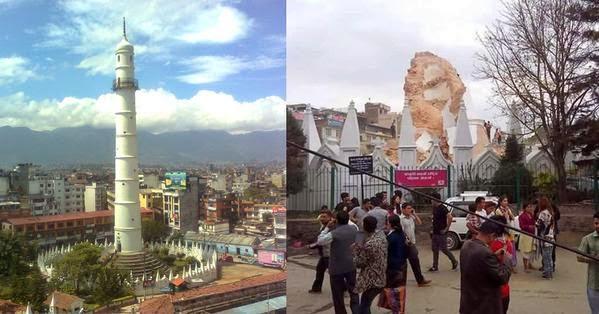 Gambar Sebelum Dan Selepas Gempa Bumi Nepal