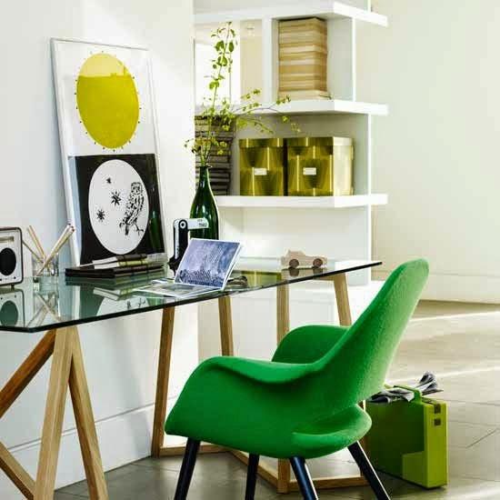 Zona de trabajo decorado en verde