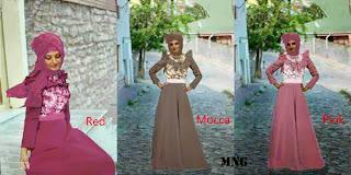 Brocat Maxi Dress - Maxi Kombinasi bahan Jersey dan Brukat