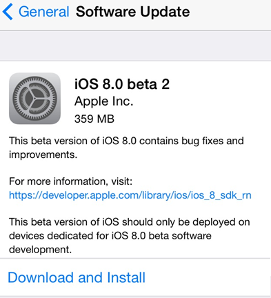 Download iOS 8 Beta 2 IPSW