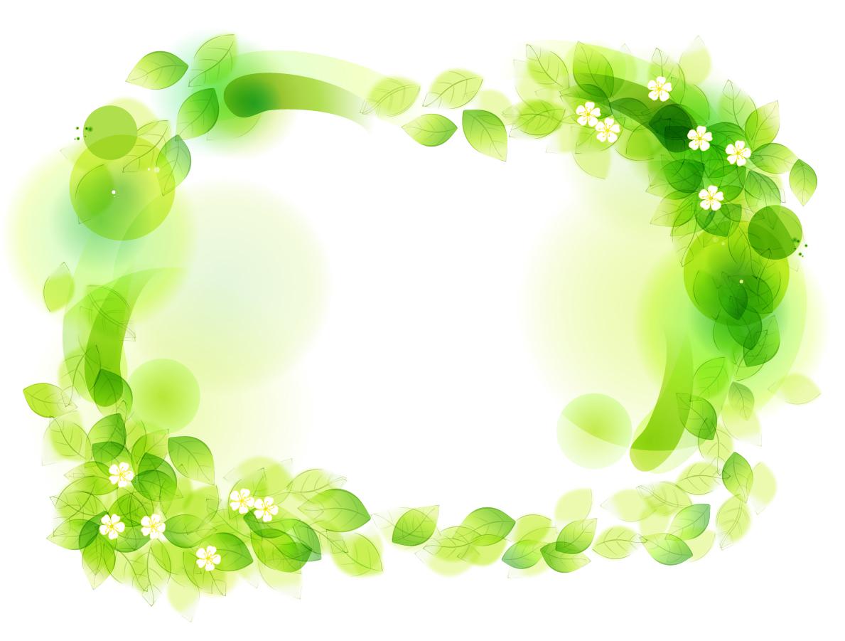 淡い緑の葉が重なるフレーム Green Floral Frame Vector Illustration イラスト素材