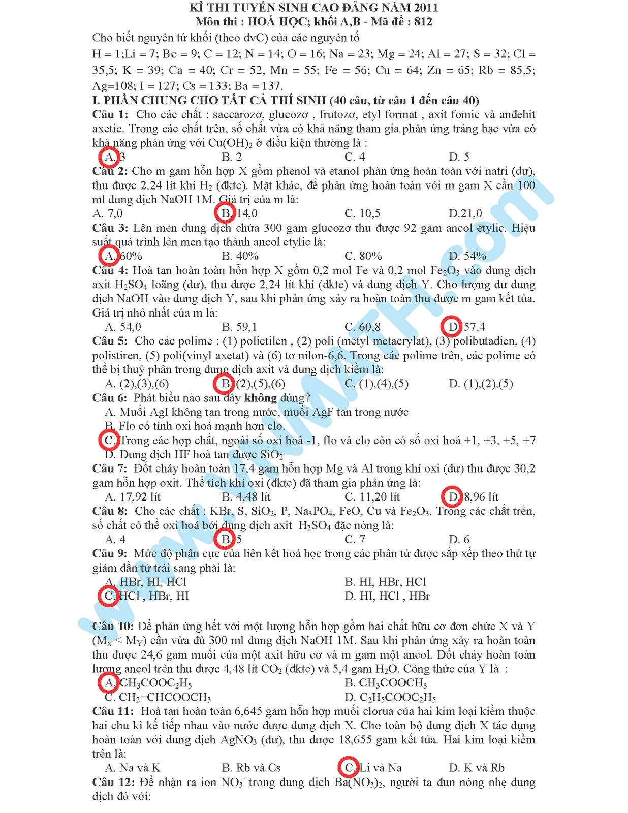 Đáp án đề thi cao đẳng môn Hóa khối A năm 2011 của Bộ giáo dục đào tạo