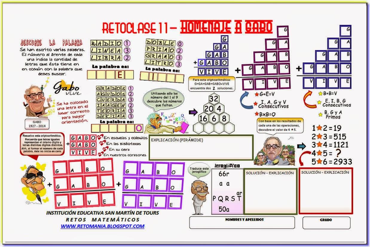 Pirámides, Descubre el Número, Descubre la Palabra, Juego de palabras, Jeroglíficos, Retos matemáticos, Desafíos matemáticos, Problemas matemáticos, problemas para pensar, Homenaje a Gabo, Día del Idioma
