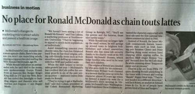 Star Tribune headline from business section: No place for Ronald McDonald as chain touts lattes