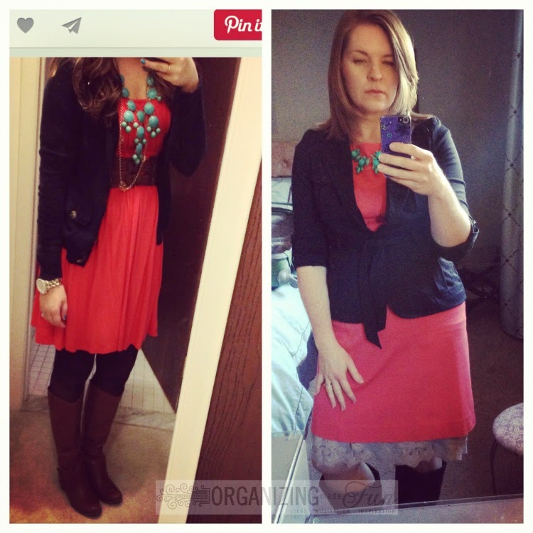 Find outfits from your own closet through Pinterest:: OrganizingMadeFun.com -- coral dress, black blazer, turquoise necklace, skirt extender, boots