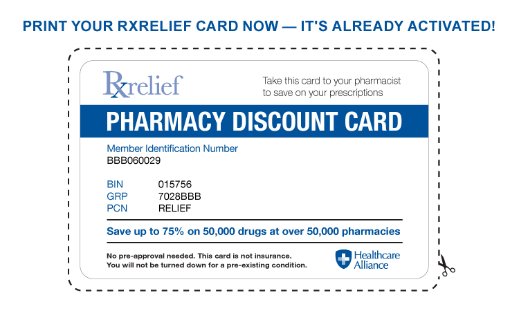 Prescription relief pharmacy discount card