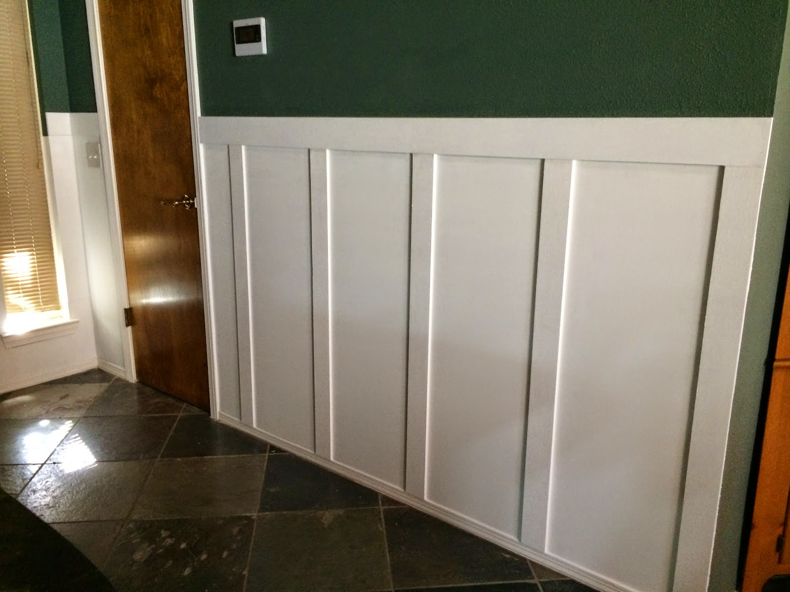 wainscoting recessed panel with Diy Board And Batten Wainscoting on Benjamin Moore Glass Slipper also Diy Board And Batten Wainscoting additionally Tall Double Panel Wainscoting together with Wood Paneling in addition Planning A Wainscoting Installation.