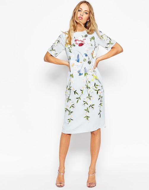 white embroidered dress, bird flower dress,