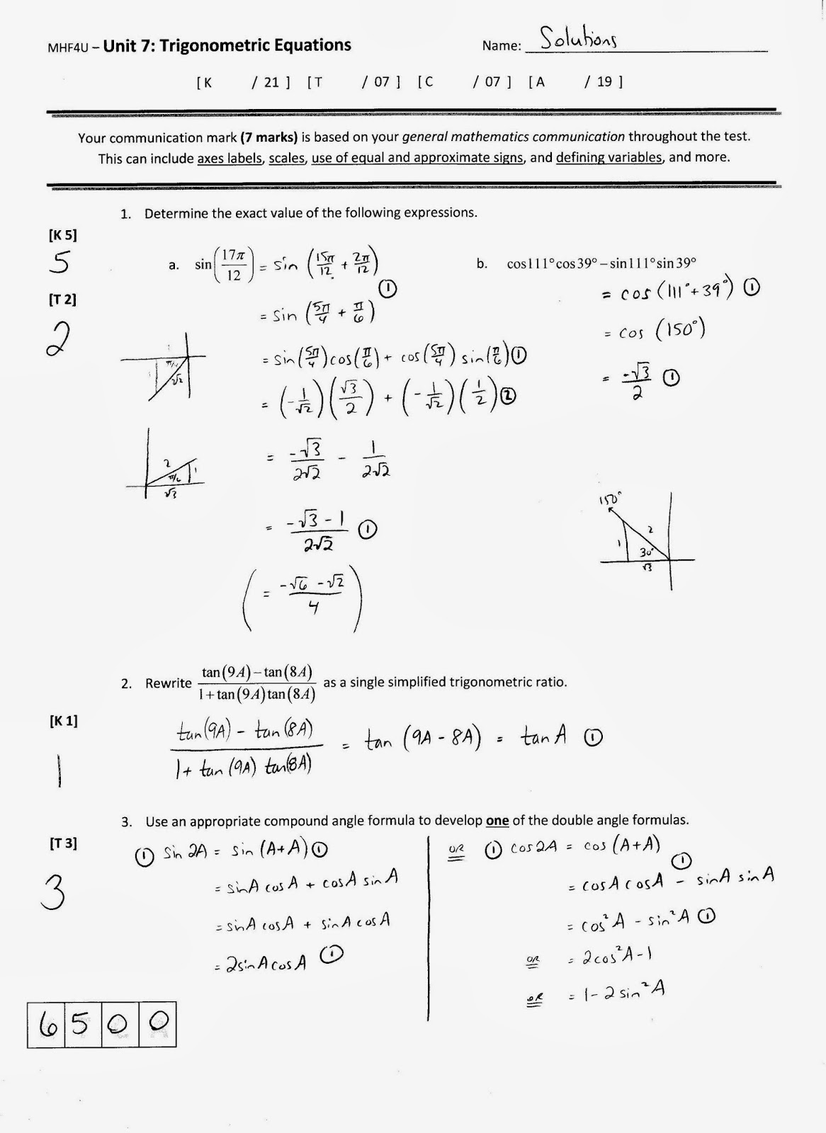 Trigonometry Formula Sheet | www.imgkid.com - 199.4KB