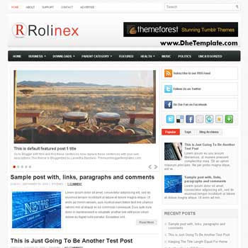 Rolinex blog template. template image slider blog. magazine blogger template style