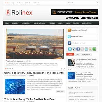 Rolinex blog template. template image slider blog. magazine blogger template style