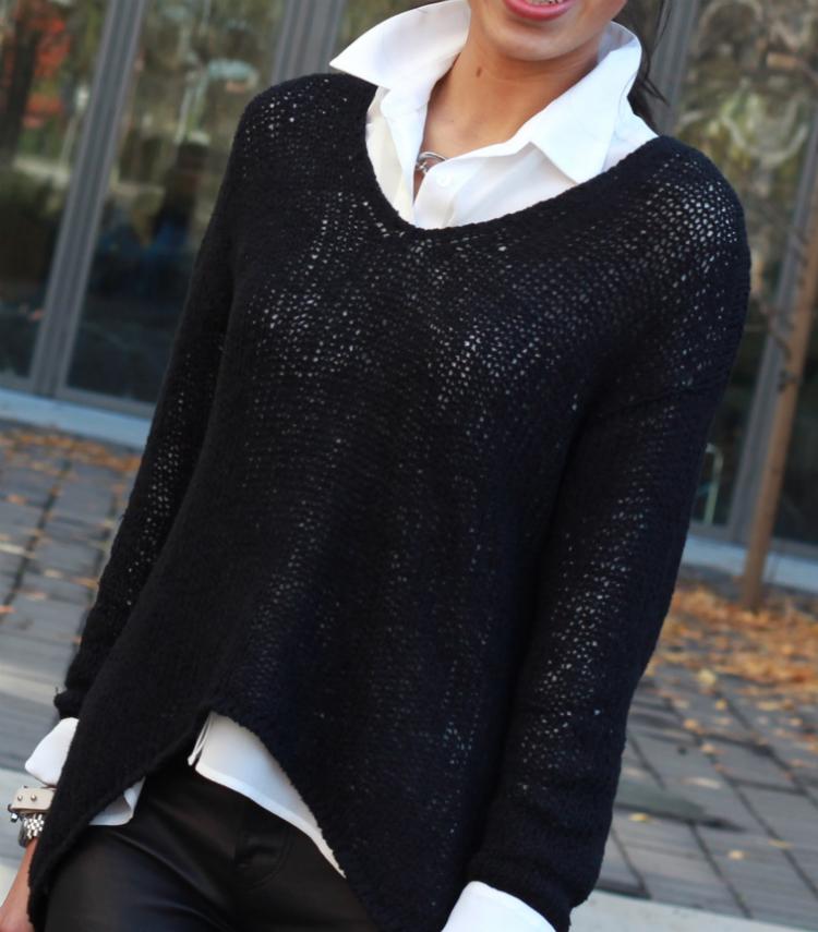 helmut lang asymmetrical sweater layering idea