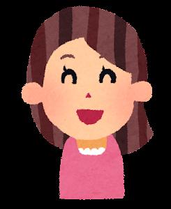 女性の表情のイラスト「笑った顔」