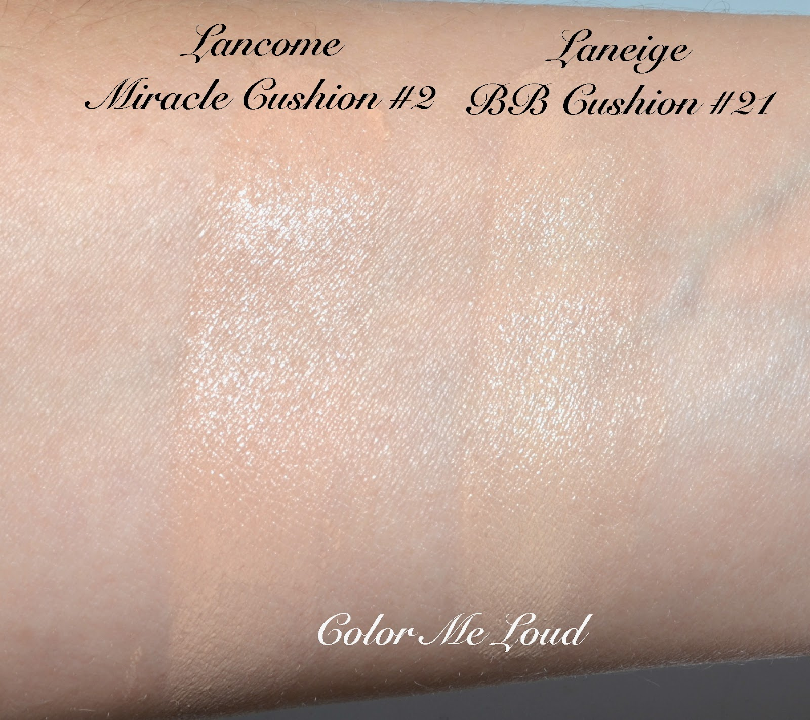 Lancme miracle cushion foundation review swatch comparison fotd swatch comparison lancme miracle cushion foundation 2 vs laneige bb cushion 21 nvjuhfo Image collections