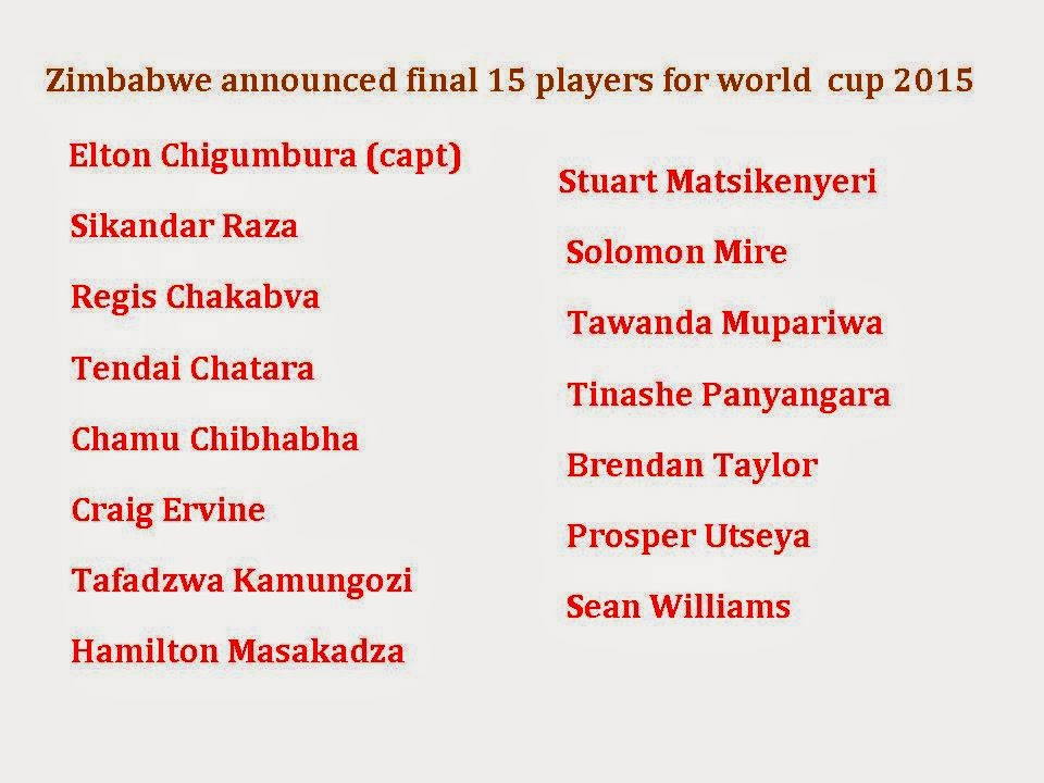 Zimbabwe Final 15 squad for world cup 2015