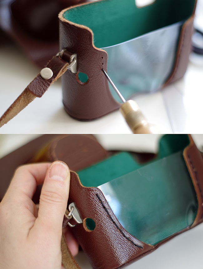 How to upcycle a vintage camera case to a trendy spiked shoulder bag. Designed and photographed by Xenia Kuhn for fashionrolla.com