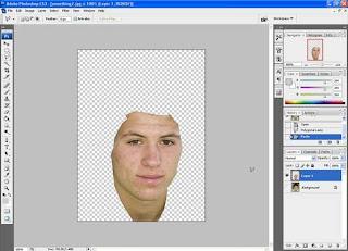 ... dengan hasil seleksi pada bagian wajah yang akan dihaluskan tersebut