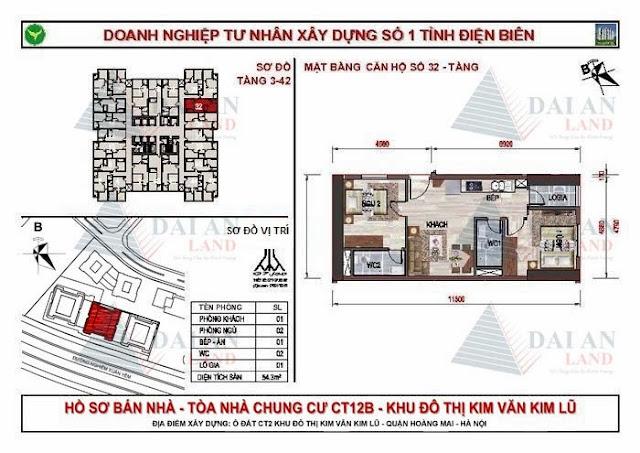 Căn 32 - Tòa CT12B Chung Cư Kim Văn Kim Lũ