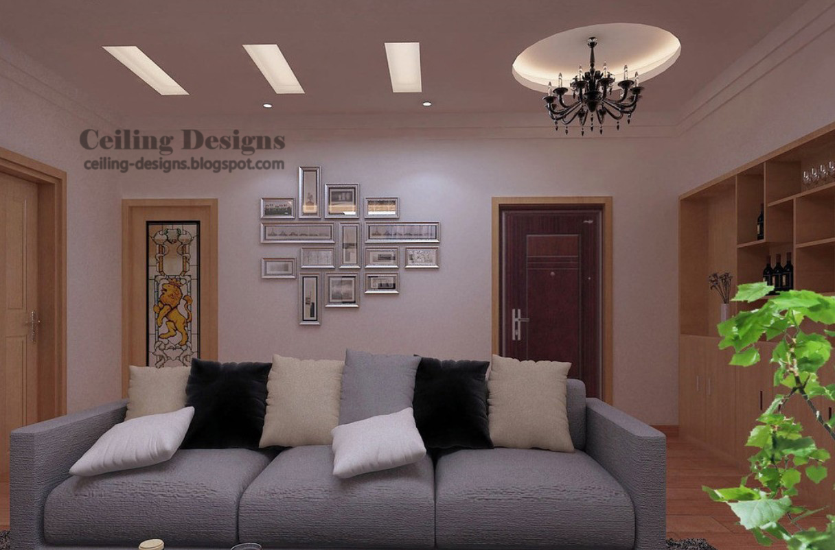 Etonnant Fall Ceiling Design From Two Gypsum Layers With Hidden Lighting For Living  Room
