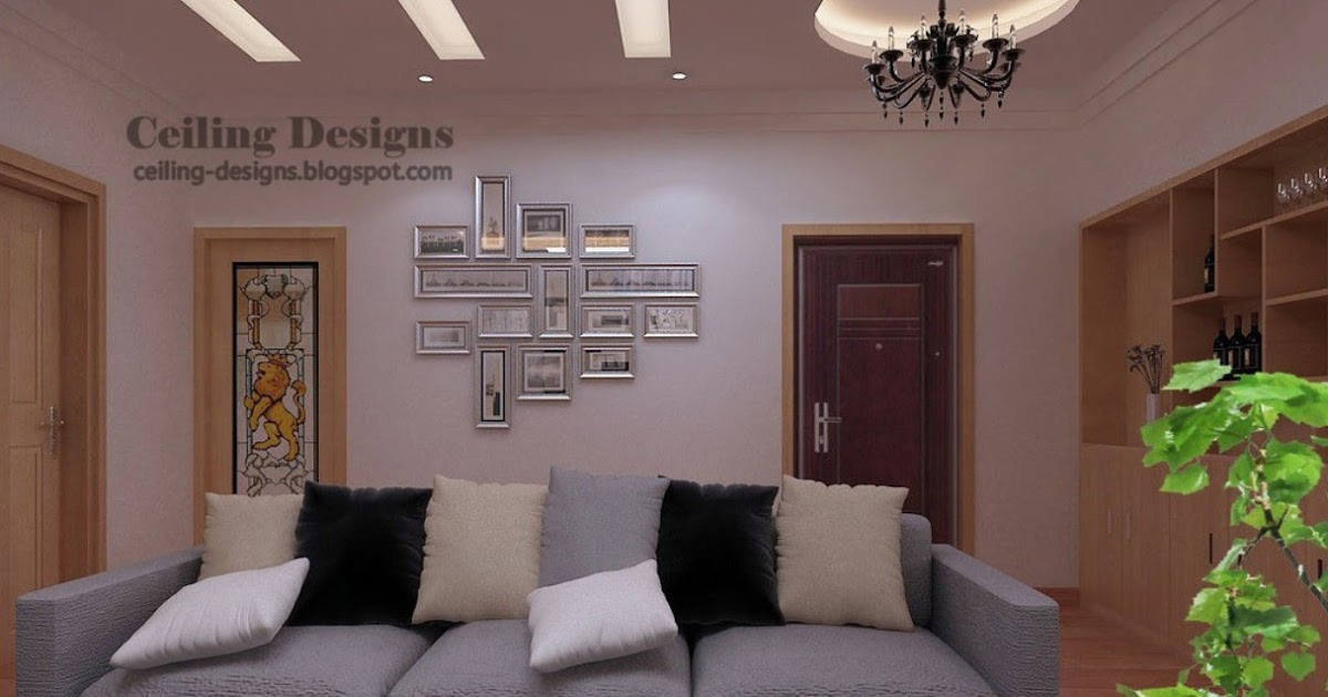 Gypsum Fall Ceiling Design With Hidden Lighting For Living Room
