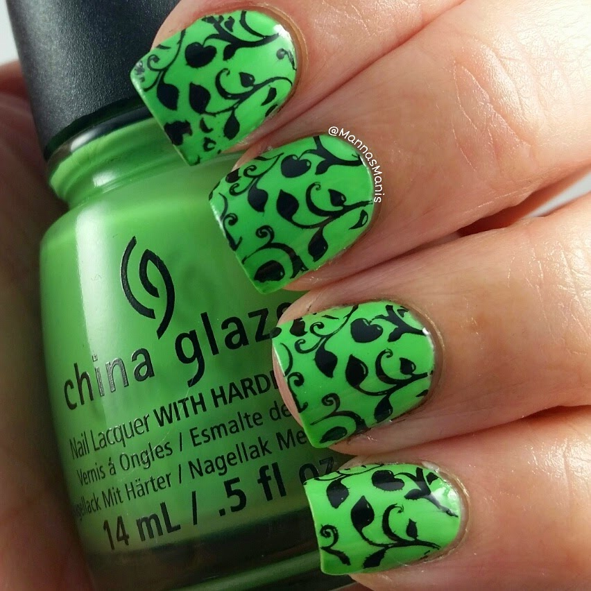 green china glaze nail polish with nail stamping
