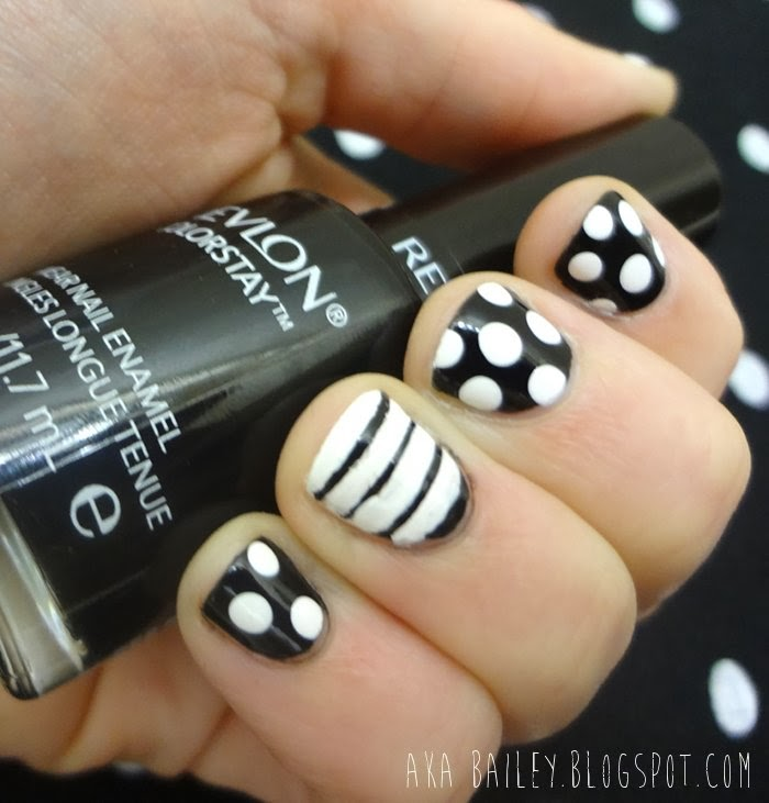 aka Bailey: Black and White nails, polka dots and stripes