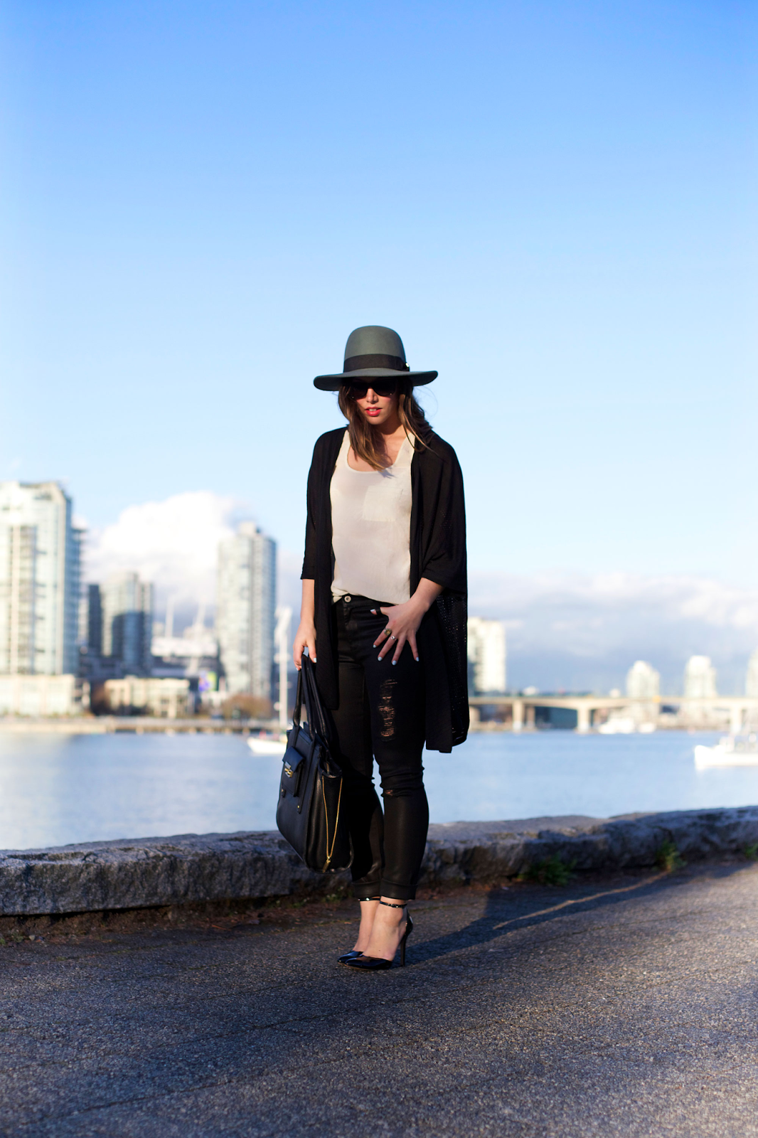 to vogue or bust, vancouver style blog, vancouver fashion blog, vancouver fashion, vancouver style, canadian fashion blog, top canadian fashion blog, top vancouver blogger, alexandra grant, brixton hat, james jeans twiggy skinny jeans, left on houston cardigan, joe fresh silk tank top, kv bijou ring, brooklyn designs ring, sole society heels, 3.1 phillip lim for target bag, vancouver seawall