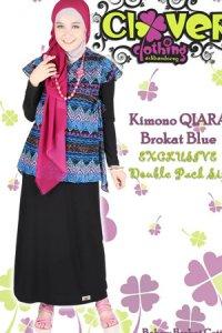 Clover Clothing Dress Kimono QIARA Brokat - Black Blue [L] (Toko Jilbab dan Busana Muslimah Terbaru)