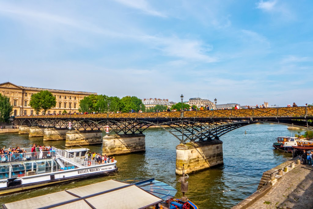 Paris France Seine River with bridge